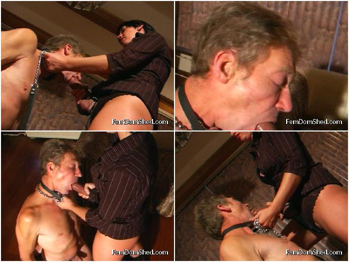 Nasty Mistress GAGGING ON STRAP-ON
