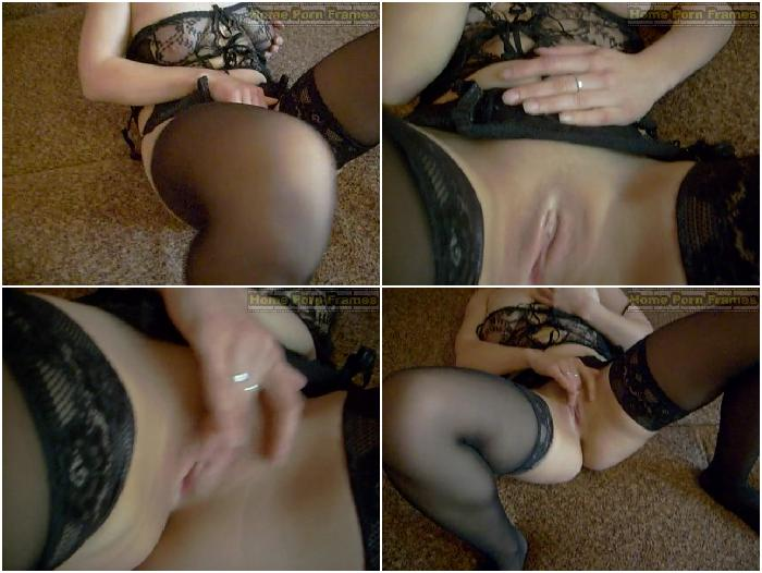 Chubby babe in black lingerie shaved pussy masturbation