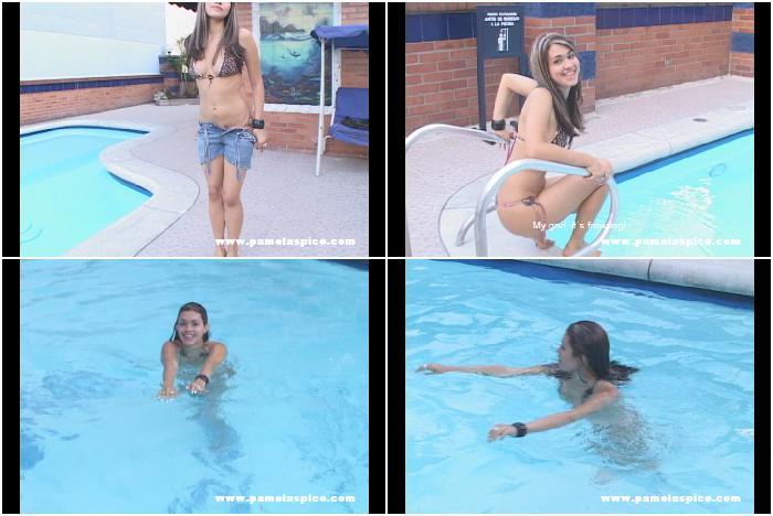 Naughty poolside girl