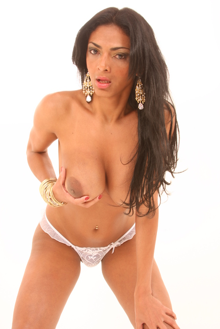 Big spanish titties are popping out of this bra - TS Pamela