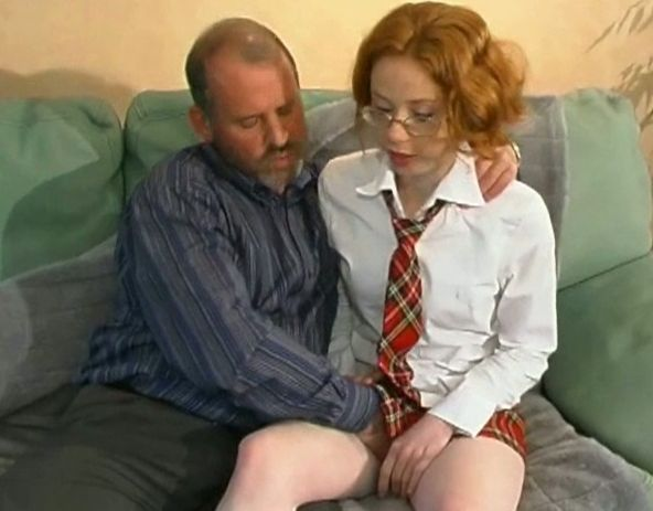 Teen redhead taking old cock - Old Man and Teen
