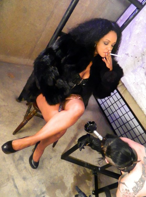Ashtray Slave in Device Bondage - Smoking Sex