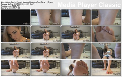 Sasha Foxxx's Useless Shrunken Foot Slave - HD WMV