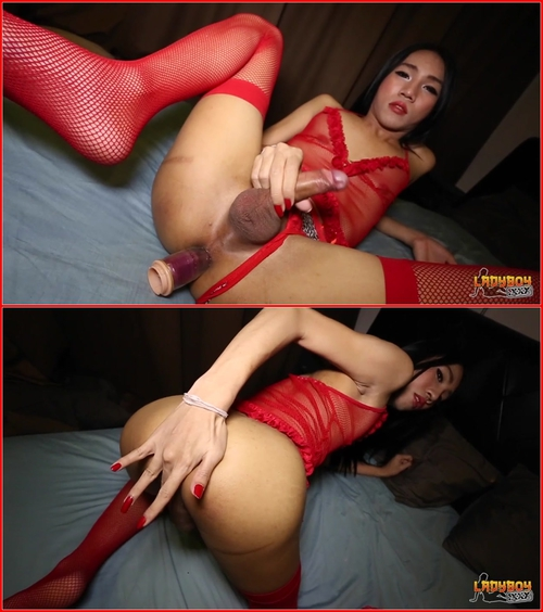 Wenat Is Stunning In Red! (09.07.2015) Asian, Shemale, Solo, Posing, Masturbation