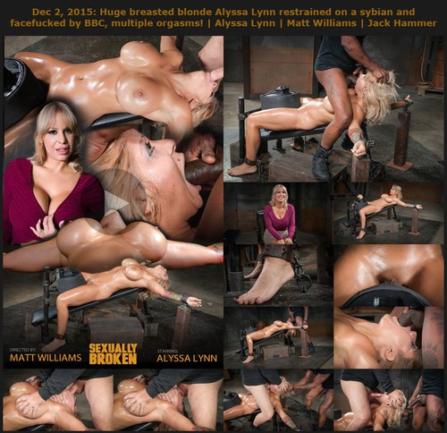 Huge breasted blonde Alyssa Lynn restrained on a sybian and facefucked by BBC, multiple orgasms!| Alyssa Lynn | Matt Williams | Jack Hammer December 2, 2015