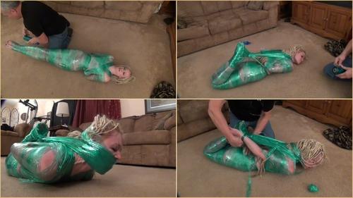 Chloe – Green Plastic Wrap Hogtie