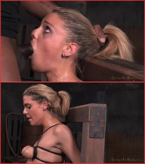 Tan Stevie Smith shackled to sybian in breast bondage and facefucked by BBC into a drooling mess!