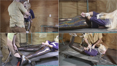 Miss Glitter Pants in a Legs Spread Hogtie – Part 2