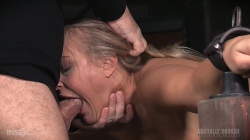 Blonde with big rubber dildo