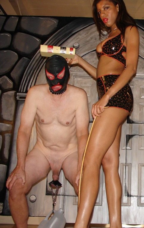 Coral Slaps Old Cock and Balls - Femdom