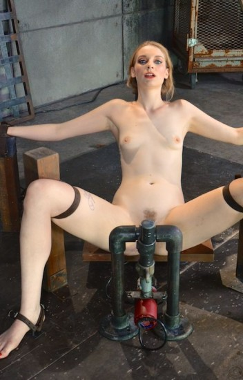 Pale Ela Darling firmly bound and throatboarded