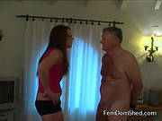 Femdom Shed: Slapping his stupid face