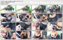 Chateau-Cuir: Voyeur wanked by leather girls part 1