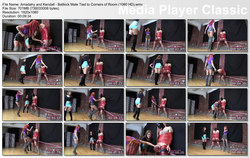 Amadahy and Kendall - Ballkick Male Tied to Corners of Room (1080 HD)