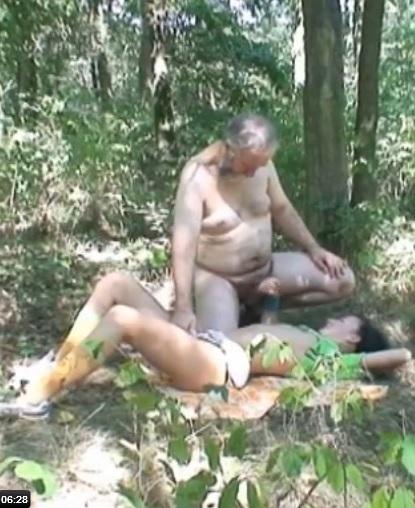 Old guy fucks her in the woods