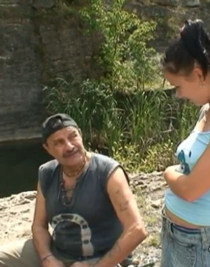 Awesome babe fucks old fisherman by the river