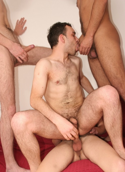 Drunken lads having an orgy
