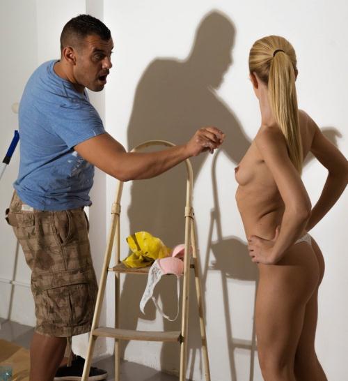 image Thisgirlsucks small tits tattooed babe bailey blue handjob b