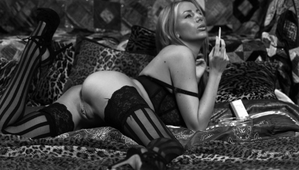 Danielle Maye playing with her beautiful pussy while smoking