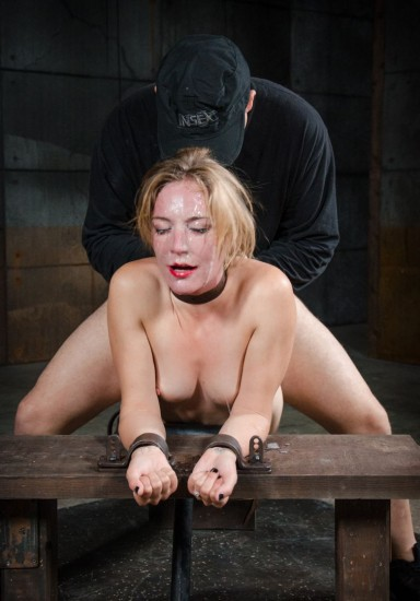 Beautiful Mona Wales belt bound, shackled