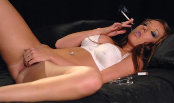Cate Harrington smoking as she masturbates