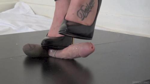 Cock balls trampled high heels boots