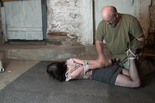 Bondage slow strangle video hogtied