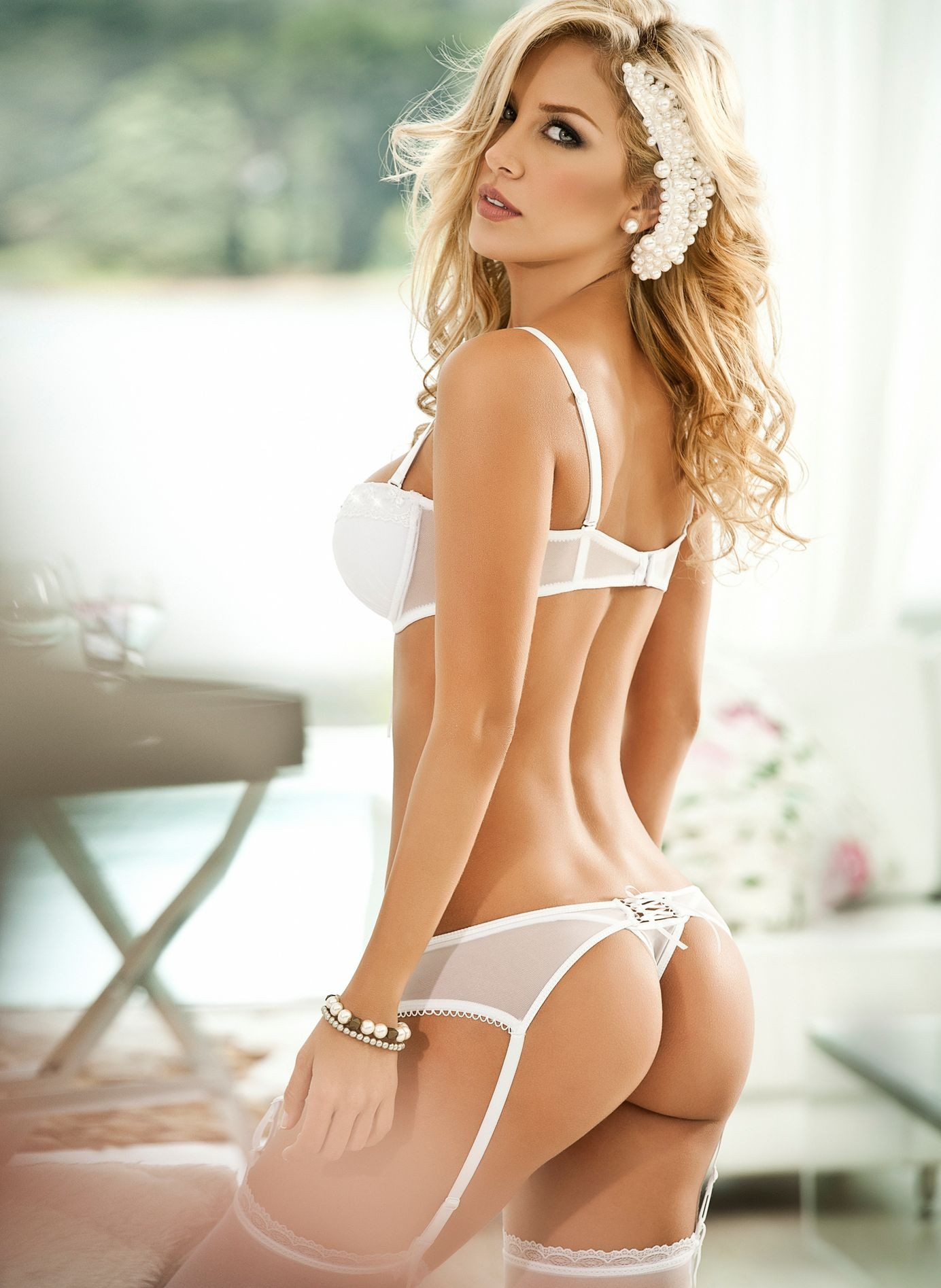 A Lovely Blonde Woman Wearing Sexy Lingerie